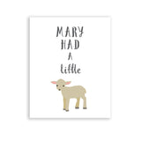 Mary Had A Little Lamb Baby Nursery Room Rhyme Art Print Wall Decor