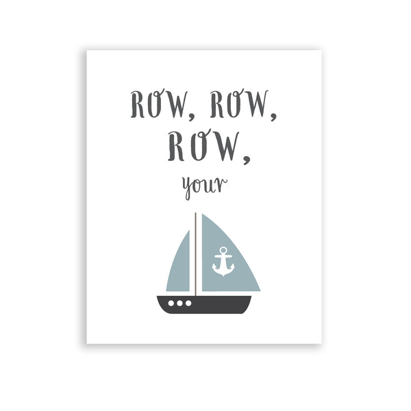 Boys Room Nautical theme boat sailing decor Row row row your boat nursery rhyme blue baby boys room