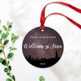 First Christmas Married ornament with Starry Celestial Night Sky Camping
