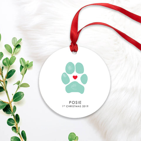 pet's first christmas paw print ornament personalized dog paw