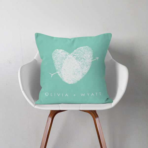 Personalized fingerprint pillow custom anniversary or wedding gift