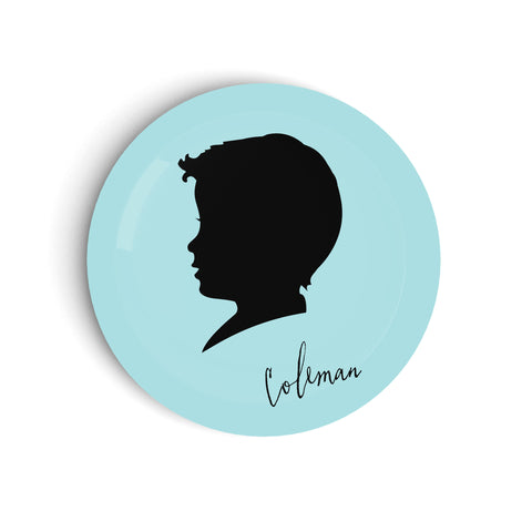 Kids custom silhouette dinner plate in blue with black cameo