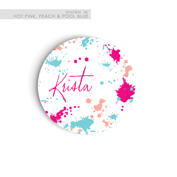 Plate with mulit colored paint splatters personalized with name