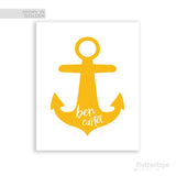 Anchor silhouette kids name artwork in yellow