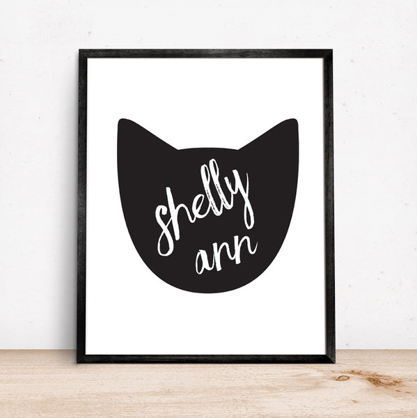 Kids Name Cat Art Girls Room Wall Decor Personalized