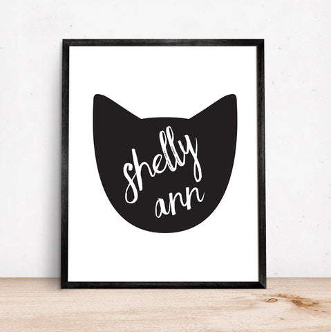 Kids Room Cat Art Silhouette in Black with Custom Name
