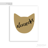 Handwritten Name Art with Cat Silhouette in Gold