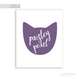 Purple Cat with white name personalized art