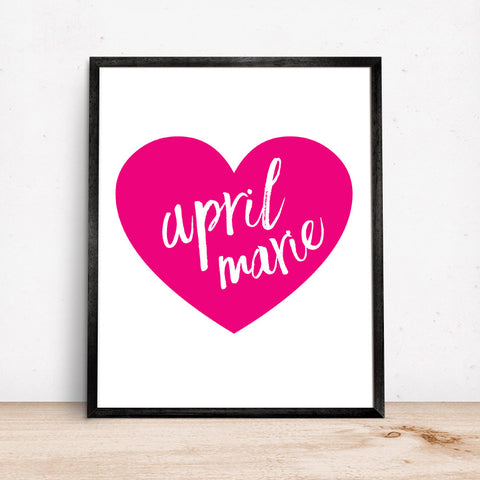 Hot pink heart personalized name wall art