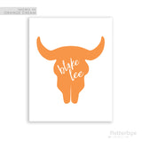 White Handwritten Personalized Name on Orange Skull Silhouette