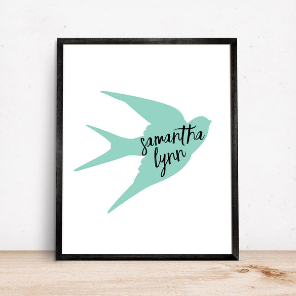 Swallow Bird Art with Black Script Personalized Name in Aqua