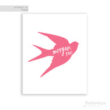 Coral Swallow Silhouette with White Script Personalized Name