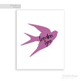 Personalized Kids Art with Name and Violet Swallow Silhouette with Black Script