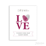 fingerprint heart love please sign our guest book wedding print