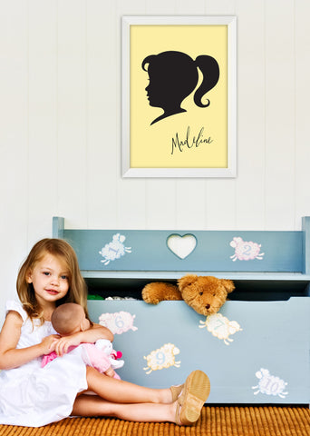 Custom Silhouette Black Cameo childrens personalized art print