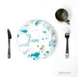Colorful kids paint splatter custom dinner setting
