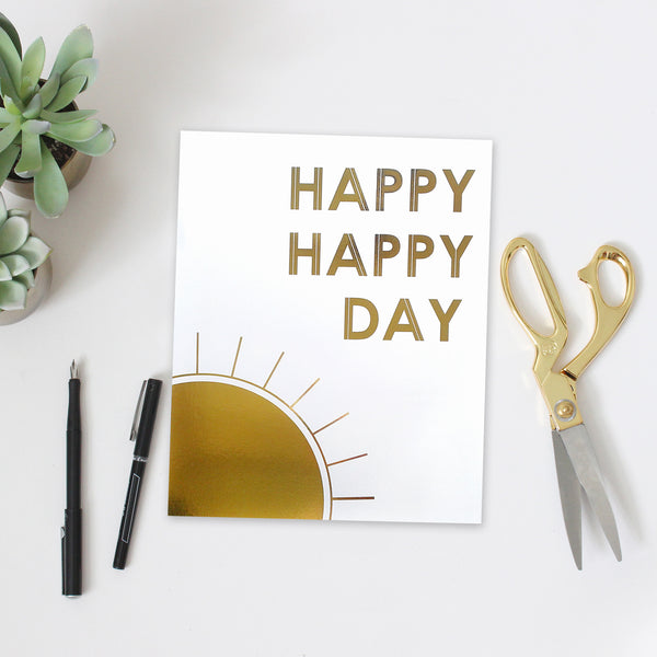 Shiney gold sun happy happy day motivational wall art kids room decor