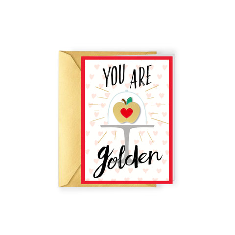 Teacher Gift and Enamel Pin Card Golden Apple greeting card