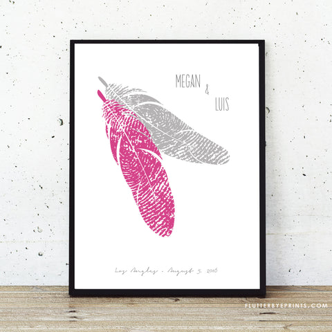 Feather theme wedding poster guest book alternative pink and silver wedding