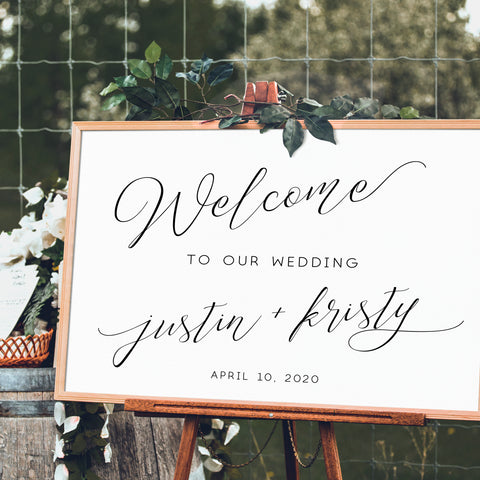 wedding reception welcome sign personalized cursive script