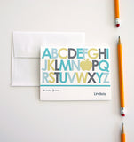 Teacher appreciation note card set with alphabet design and apple