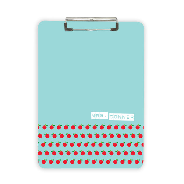 Personalized teacher gift idea clipboard with apple pattern and name