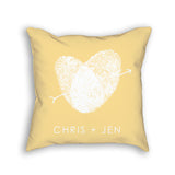 wedding pillow with personalized fingerprint heart in yellow