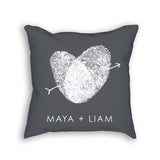 grey personalized couples pillow with fingerprints and custom name