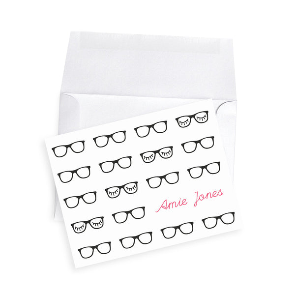 Eyelash glasses black rimmed teacher note card gift personalized notecards