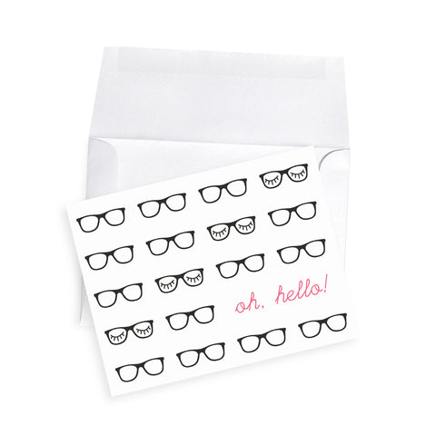 hipster black rimmed glasses personalized note cards pink and black eyelashes