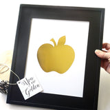Gift for Teacher from class gold apple foil shiney art print classroom decor