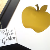 Wall Art Gold Foil Kids Bedrom Apple of My eye golden apple shiney foil print