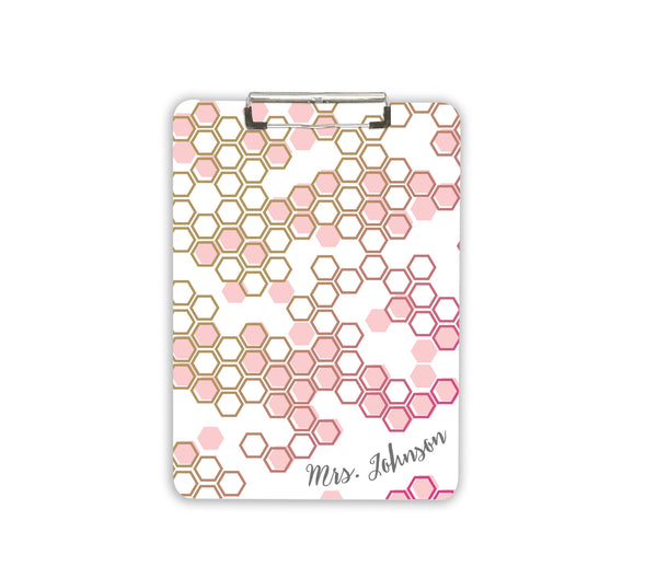 Pink and Gold Office Accessory Clipboard Personalized Teacher Gift Idea for Principal