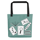 Green tote bag book lover gift reusable bag