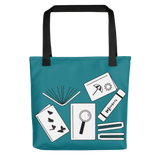 Blue book bag with black handles book worm gift idea