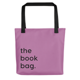 violet book bag for library books tote bag