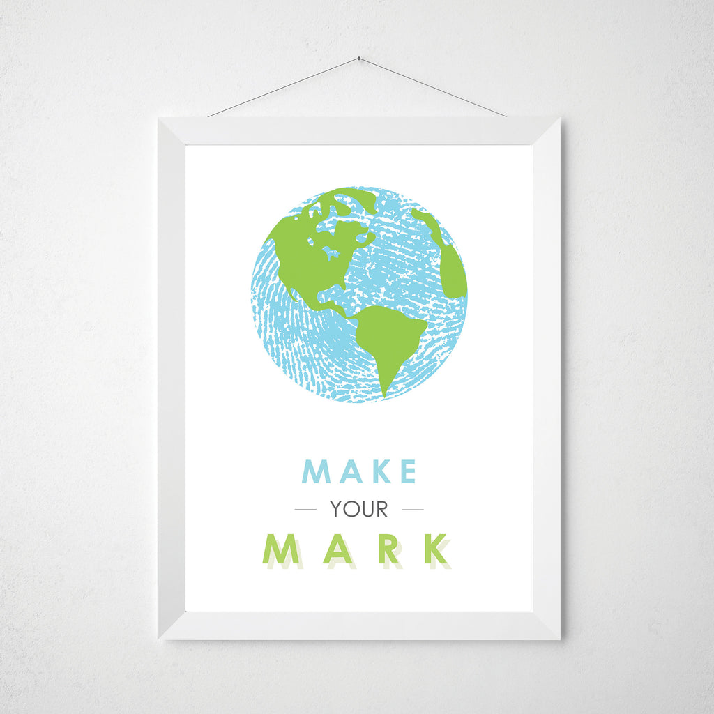 Fingerprint art make your mark world print globe motivational fingerprint world map make your mark wall art print blue and green poster gumiabroncs Images