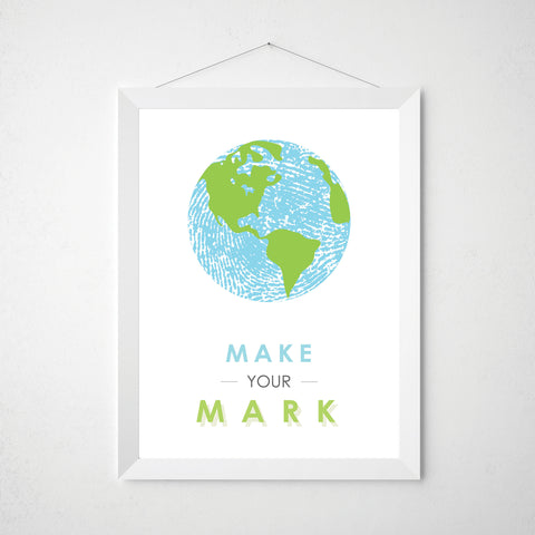 Fingerprint World Map Make your Mark Wall Art Print Blue and Green Poster