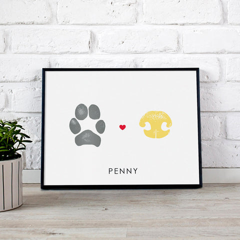 dog nose print and dog paw print custom art for pet owners