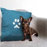 puppy with personalize pet gift paw print pillow