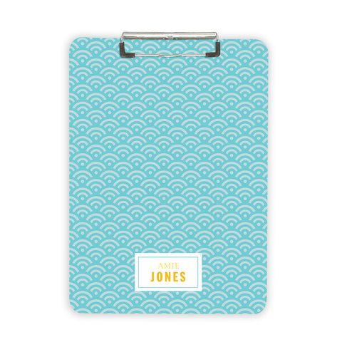 Personalized clipboard in blue scallop pattern customized with name