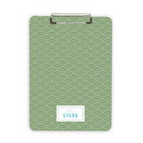 Green personalized clipboard custom desk accessory
