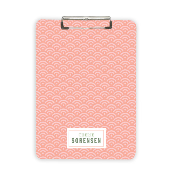 Pink Scallop personalized clipboard customized with name