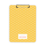 Yellow teacher clipboard personalized with name custom office supply