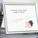 reception fingerprint heart guest book table sign framed decor