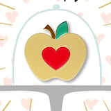 Golden apple enamel pin teacher gift thank you card