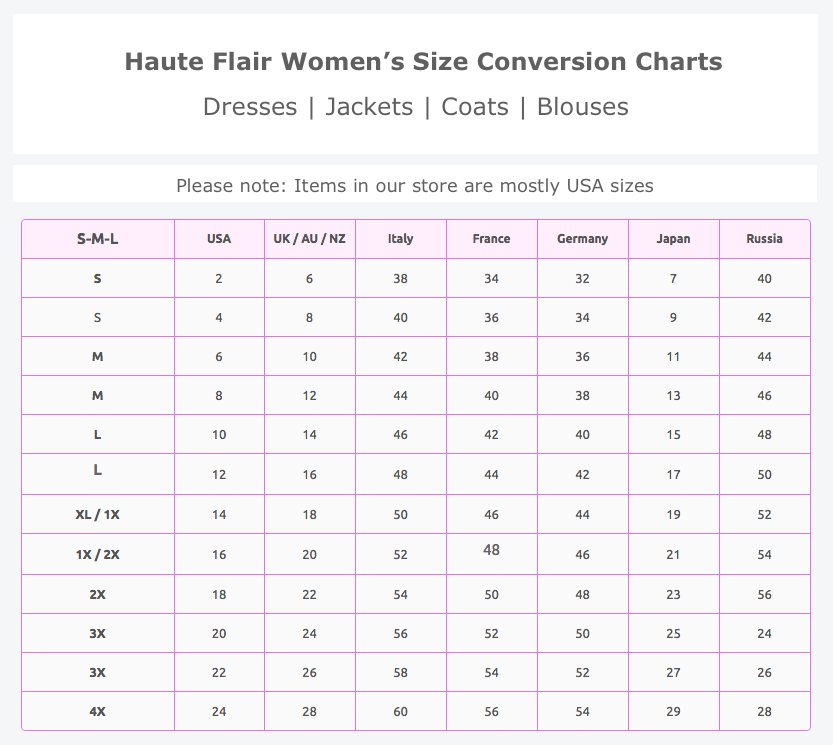Women Dress Size Charts