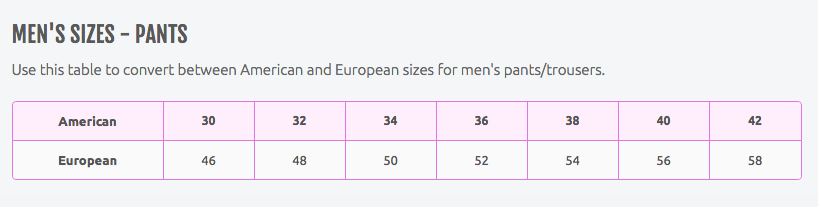 Men's Pants Size Conversion Charts