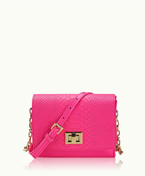 GiGi New York Catie Crossbody Hot Pink Embossed Python Leather