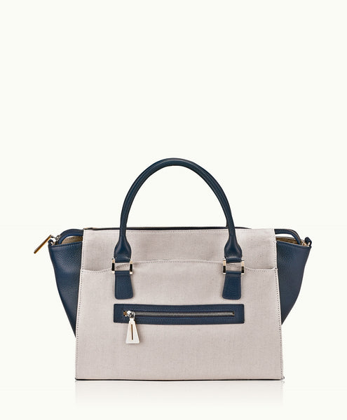GiGi New York Lily Tote Canvas with Navy Pebble